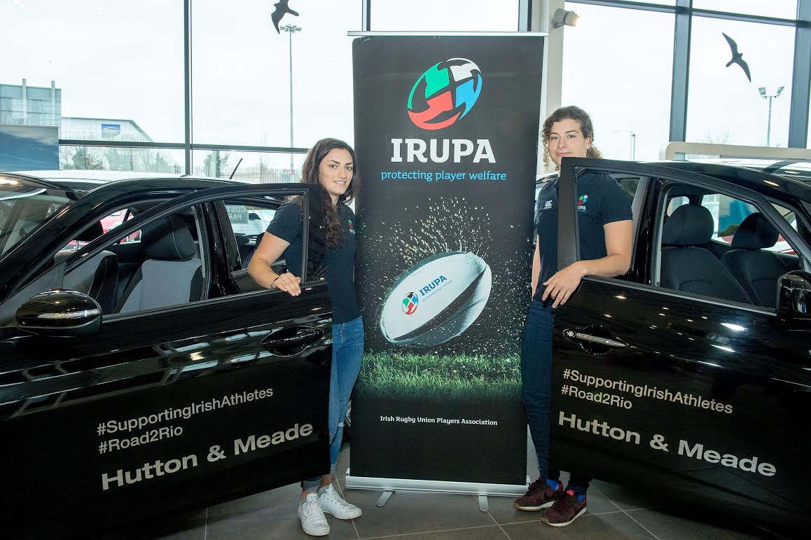 Lucy Mulhall and Jenny Murphy Irish Rugby Women's 7s Players and members of IRUPA picking up their Hyundai cars from Hutton and Meade Main Hyundai dealers in DublinMarch 2016NO Reproduction Fee© Michael Chester 087 8072295michael@chester.ie